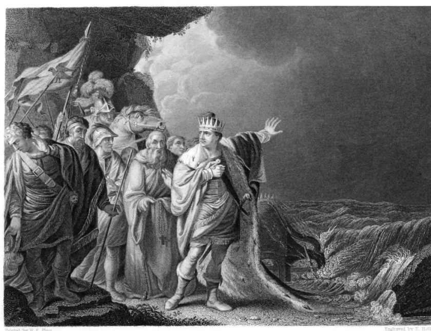 'Canute Reproving His Courtiers' - 1848 engraving
